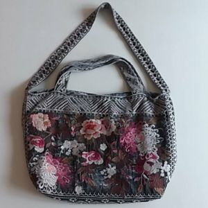 Johnny was velvet grey embroidered everyday tote